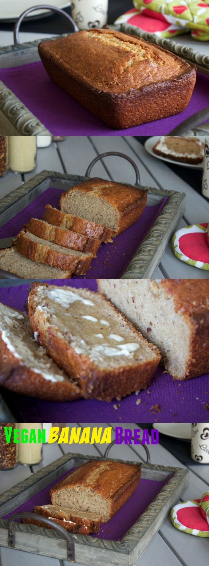 Simple Vegan Banana Bread - crispy on the outside, moist on the inside and delicious served warm from the oven with vegan butter!