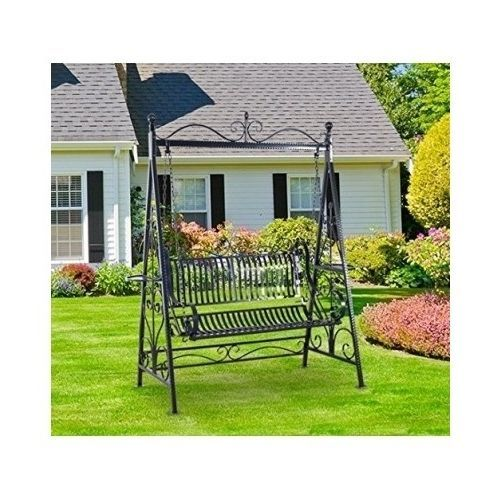 Garden Swing Chair Metal Cast Iron Outdoor Furniture Vintage Two Seat Hammock Swing Chair Garden Swing Chair Outdoor Metal Chairs
