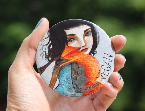 Vegan Pocket Mirror  Vegan make up mirror animal door Meluseena