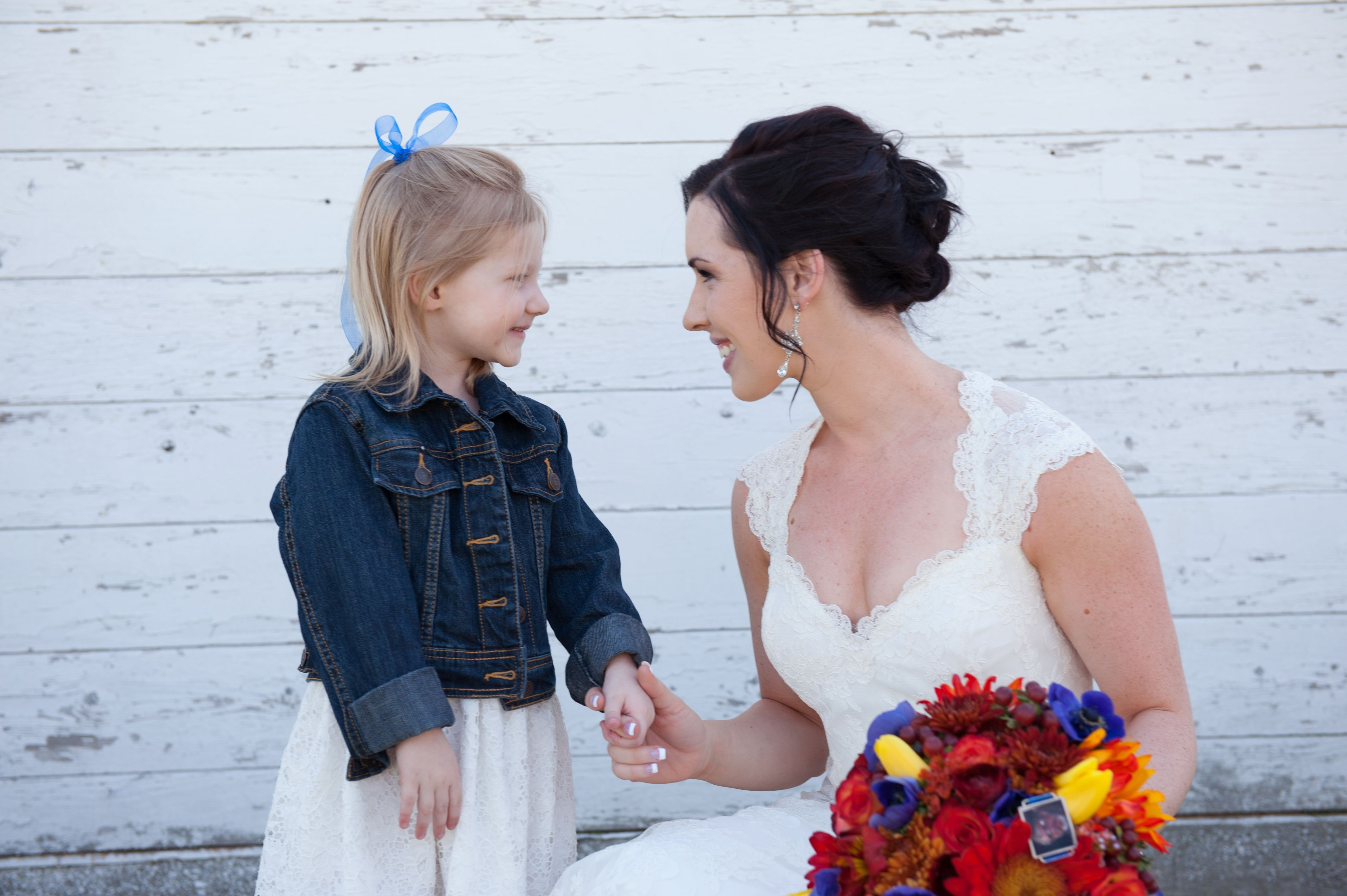 Need wedding ideas check out this white dress jean jacket flower