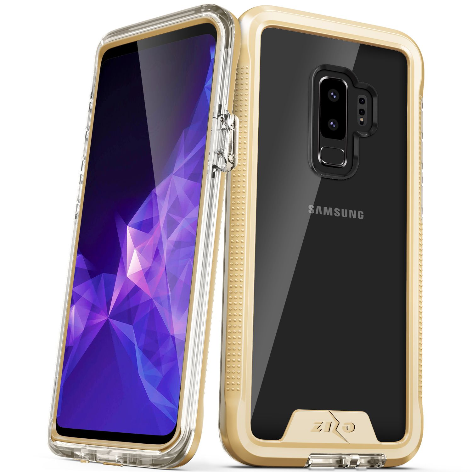Zizo Ion Series Compatible With Samsung Galaxy S9 Plus Case Military Grade Drop Tested With Tempered Glass Screen Protector Gold Clear 1ionc Samgs9plus Gdcl Tempered Glass Screen Protector Samsung Galaxy S9 Glass Screen