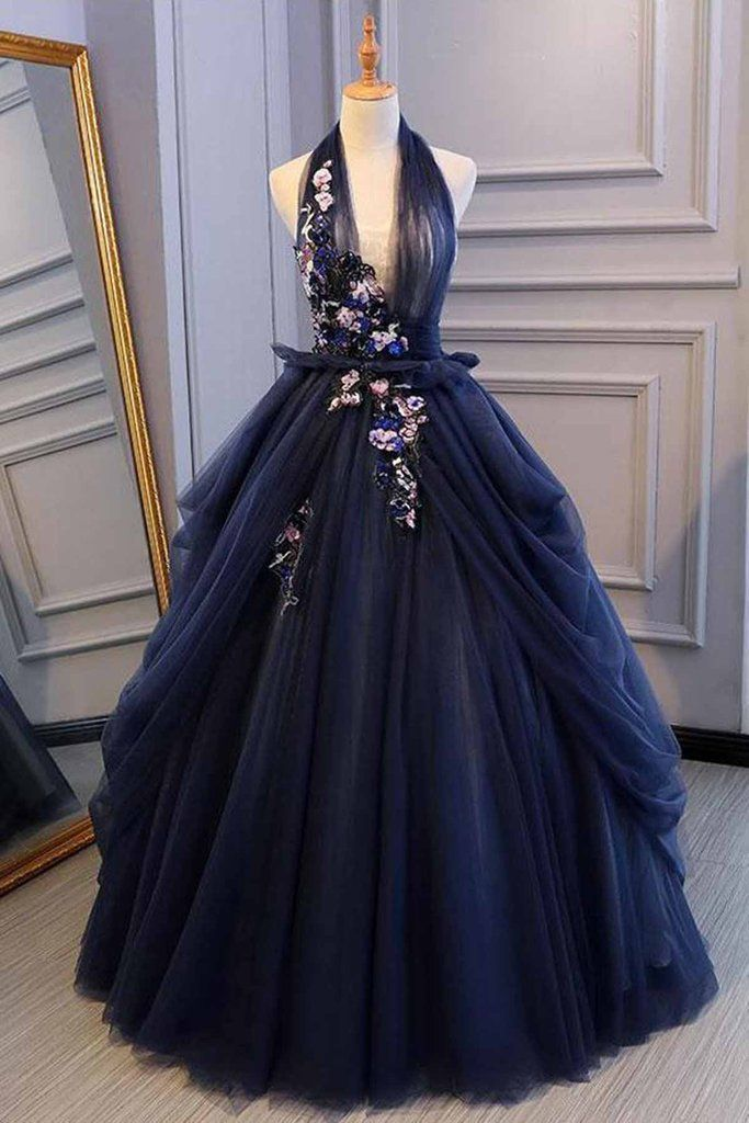 Navy Blue Tulle Backless V Neck Long Flower Lace Senior Prom Dressbackless