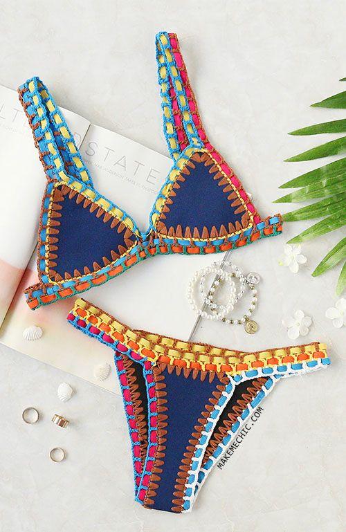 c74a83fb8f0a0 Crochet Trim Blue Bikini Set