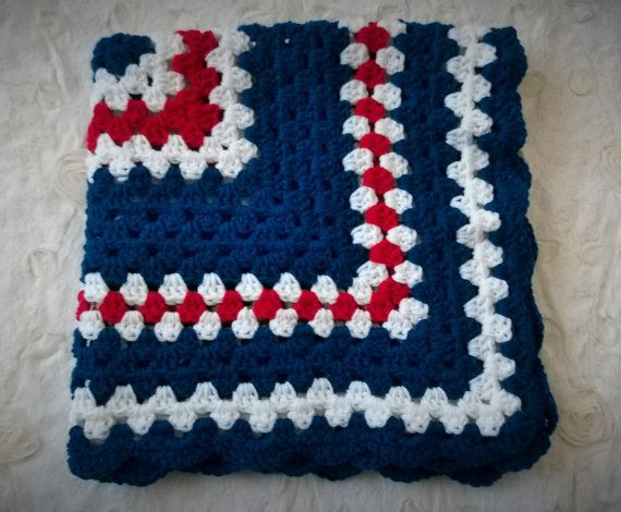 Nautical Or Patriotic Crochet Baby Blanket Red White And Blue