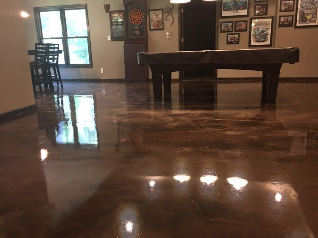 Smooth But Slip Resistant Metallic Marble Epoxy Floor In Peoria Illinois Epoxy Floor Flooring Peoria