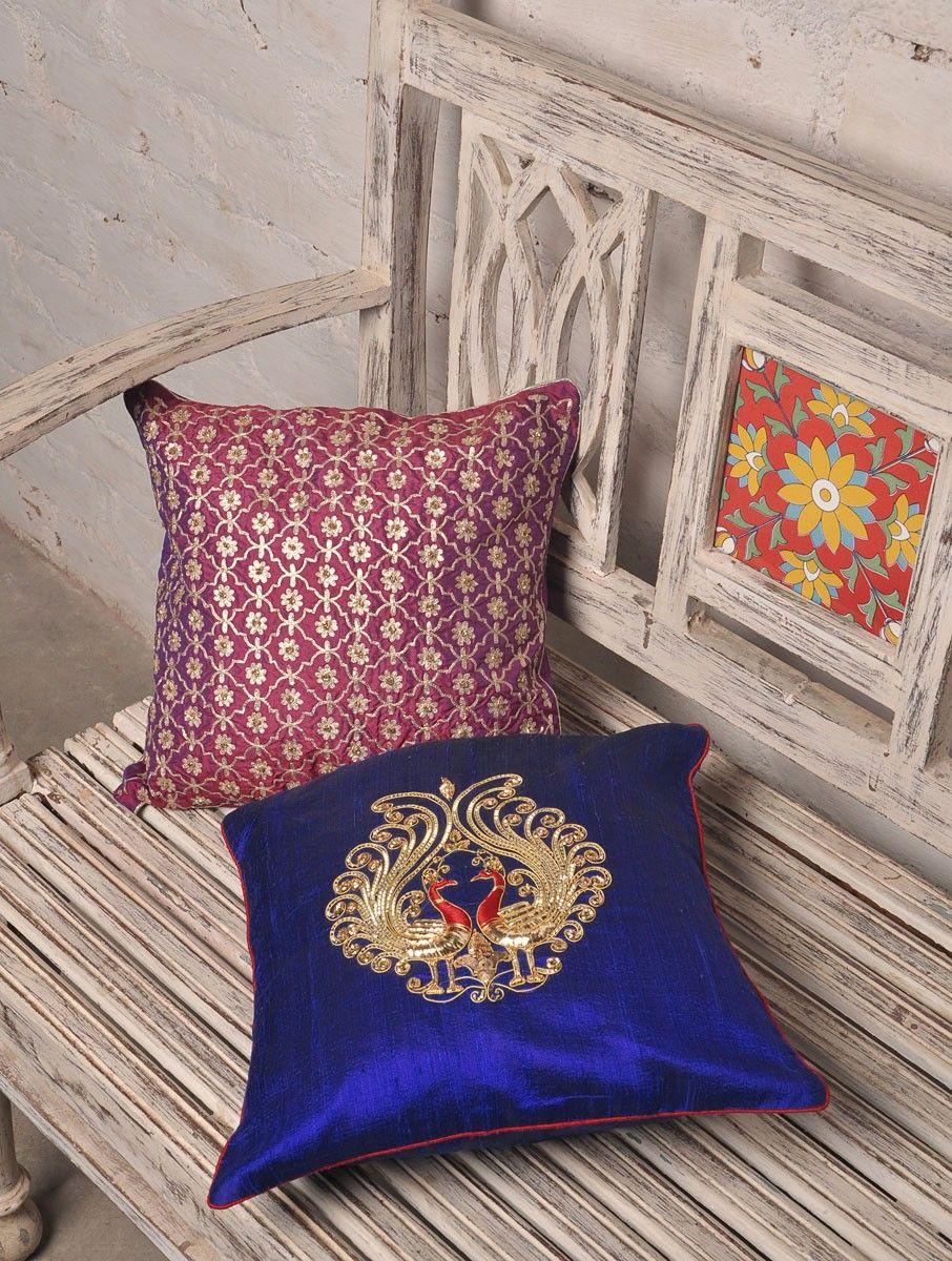 Blue Peacock Zardozi & Badla Silk Cushion Cover - 12in x 12in