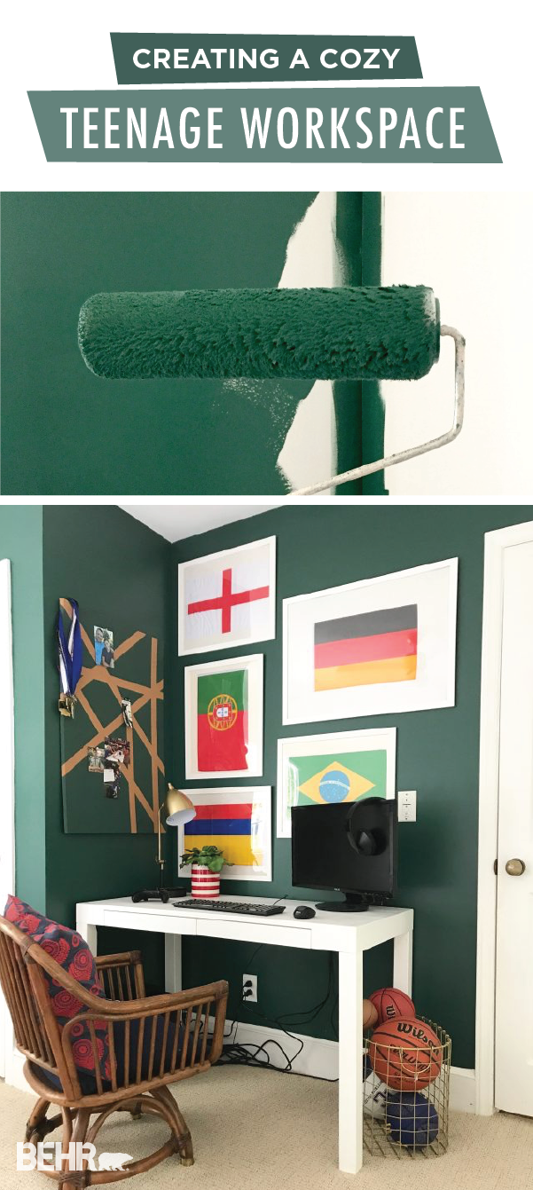 We're loving this cozy teenage workspace from Emily, of Emily A Clark. Thanks to the deep forest green color of Equilibrium from the BEHR 2018 Color Trends, Emily was able to create a stylish home office space in her kid's bedroom. Add in some colorful wall art, a modern desk, and some bright white trim to complete this DIY home makeover project.