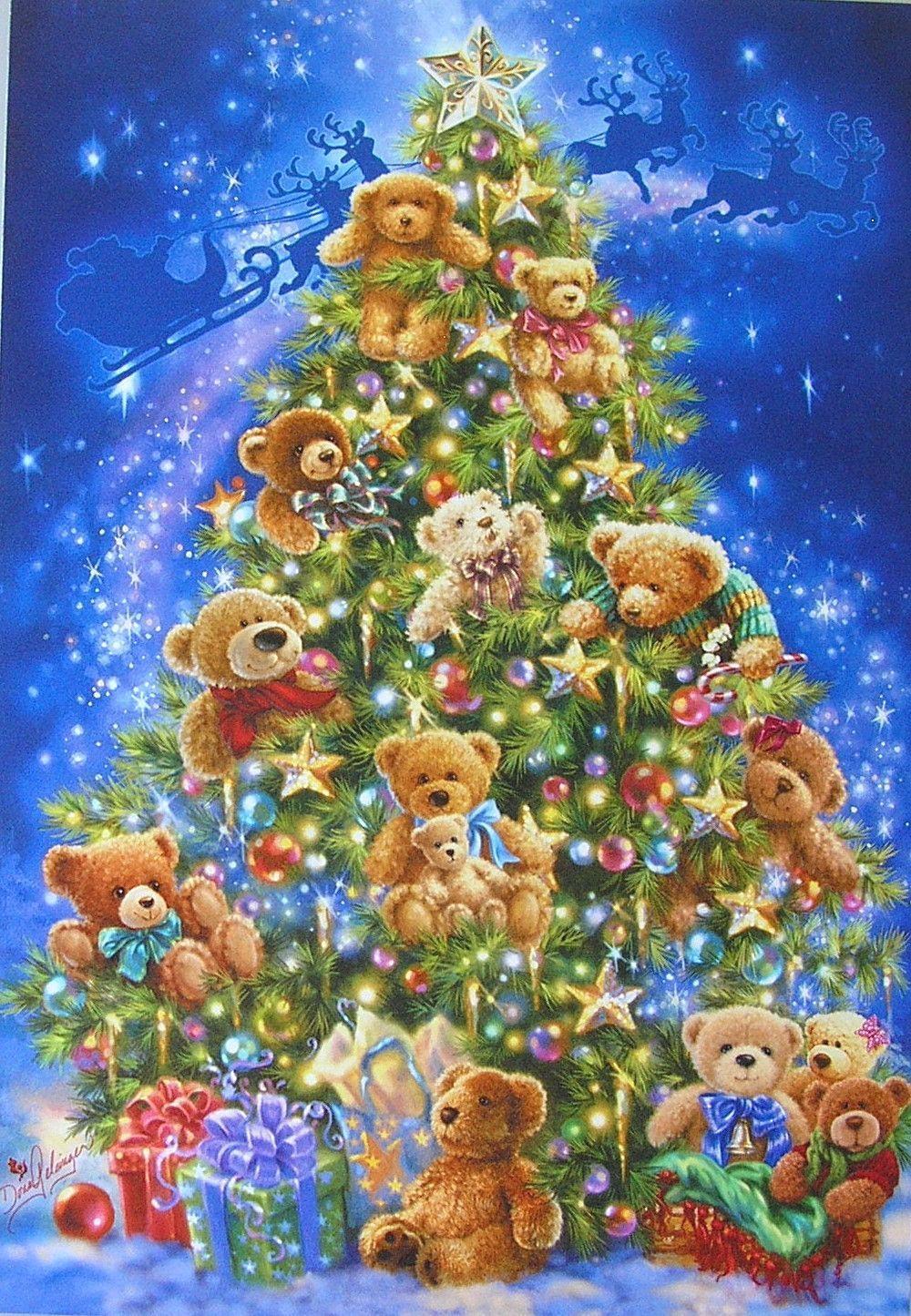 Leanin Tree Dona Gelsinger Teddy Bear Santa Sleigh Star Christmas