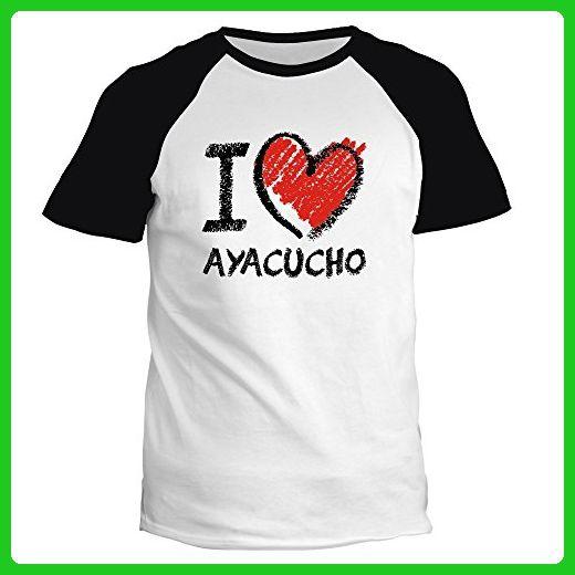 Idakoos - I love Ayacucho chalk style - Cities - Raglan T-Shirt - Cities countries flags shirts (*Amazon Partner-Link)