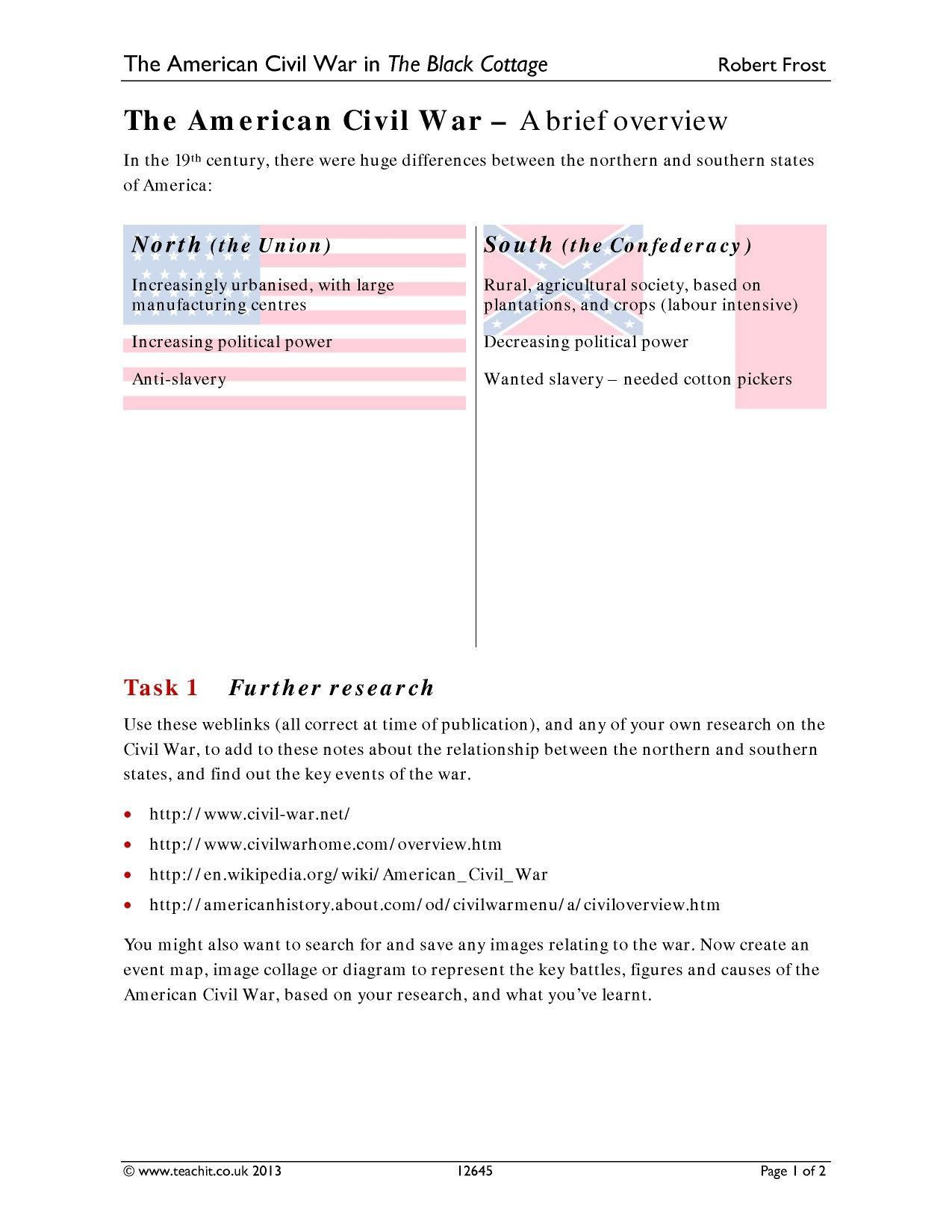 Readable America The Story Of Us Civil War Worksheet Answers