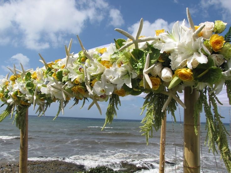 Tropical Wedding Flowers | Bamboo Chuppah | tropical wedding flowers