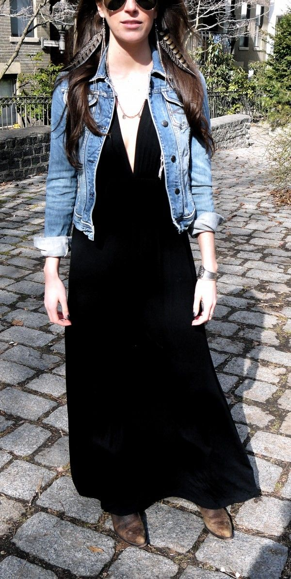 maxi skirt/dress and cowboy boots