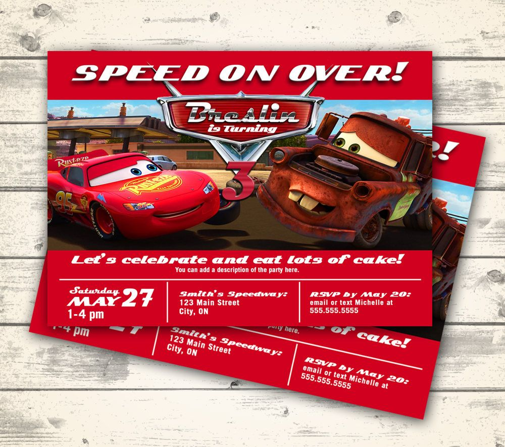 Disney Cars Invitation, Disney Cars Birthday Party Invite, Lightning ...