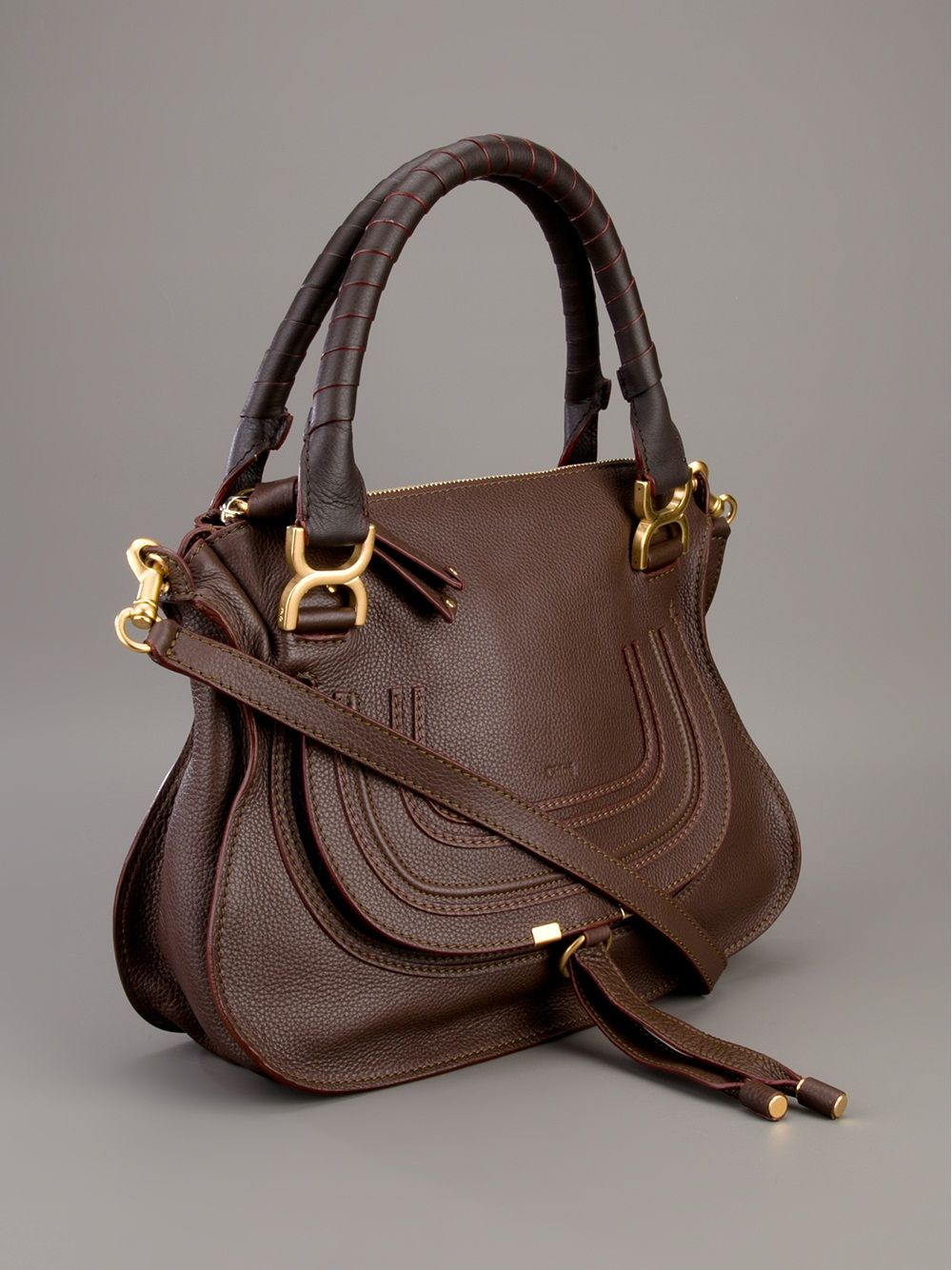 31116c5964 Chloé, Marcie small satchel, dark brown | handbags | Chloe marcie ...