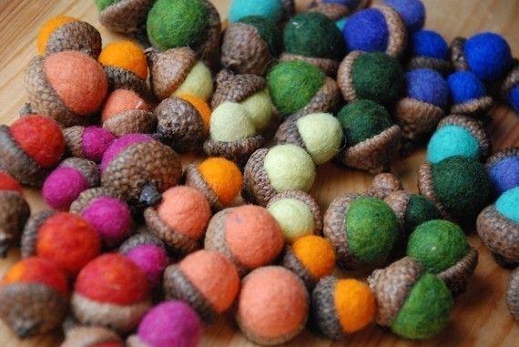 Items similar to 10 Rainbow Felted Acorns on Etsy
