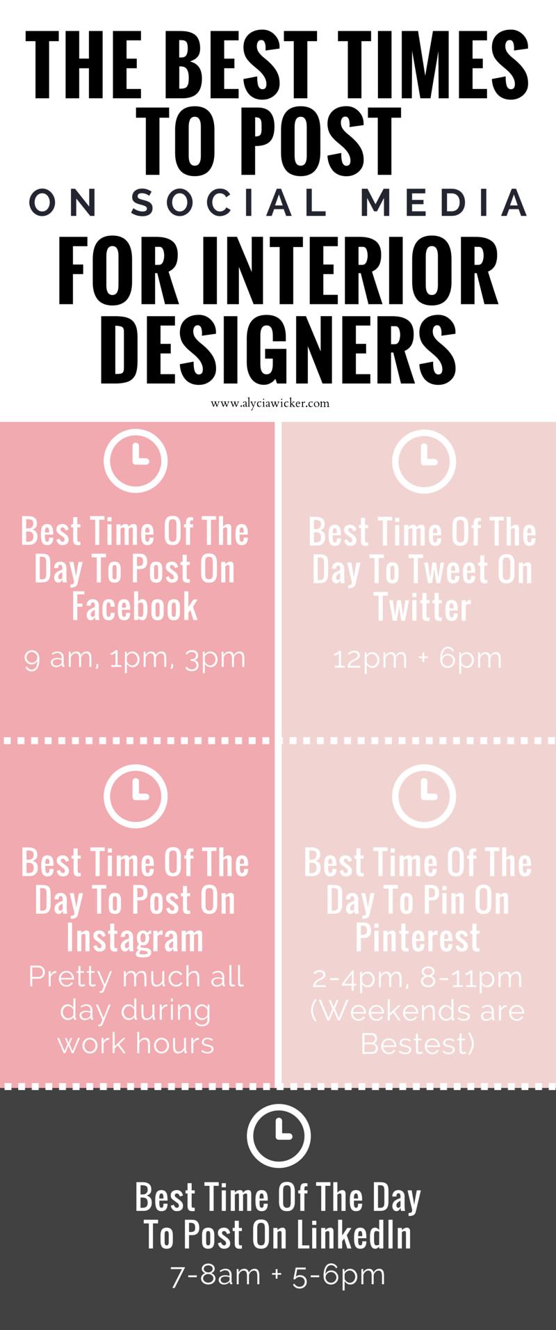 The best times to post on social media biz ness pinterest social media marketing and for Marketing plan for interior design business