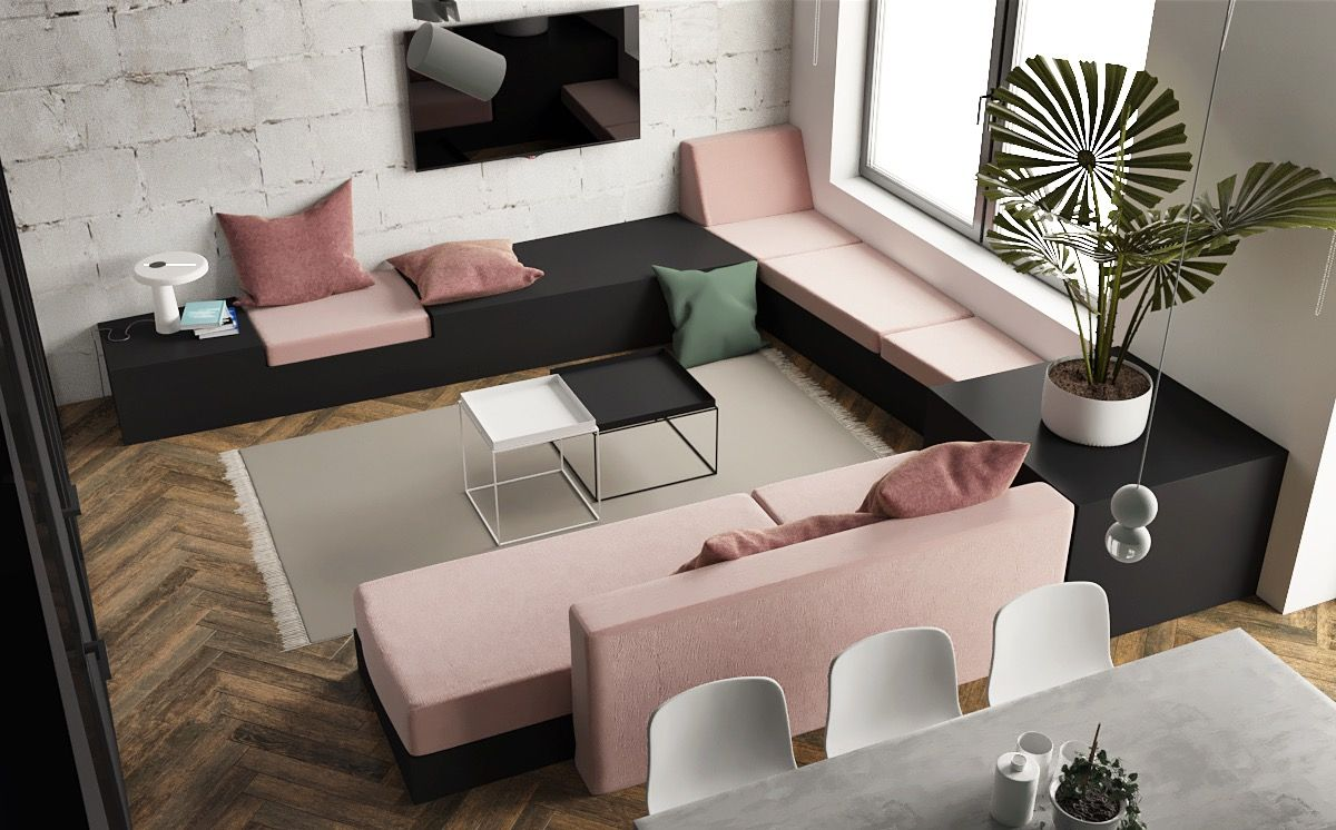 12 Studio Apartments With Inspiring Modern Decor Themes  Pink
