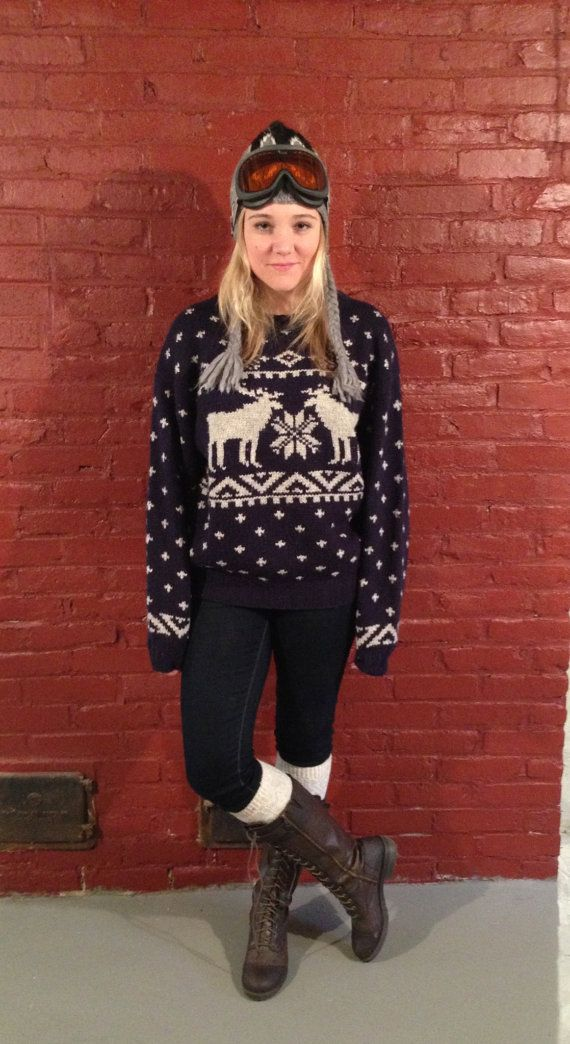 Gant Hand Knit Wool Navy Blue and Grey Reindeer by reKnewed, $50.00