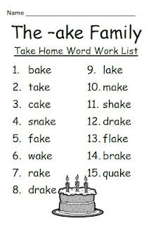 Fern Smith's The -ake Family Spelling {Word Work} Lists ...