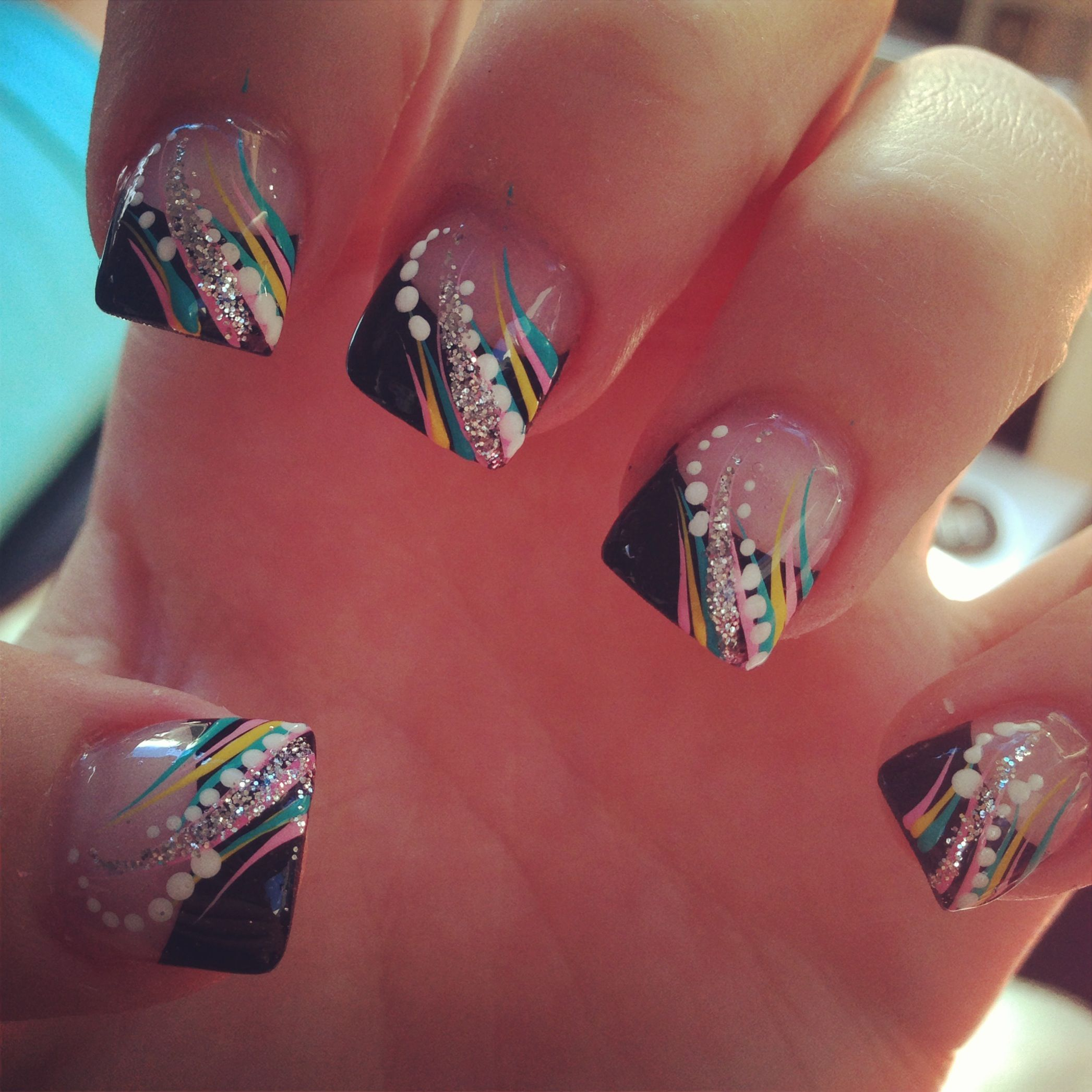 my new nails:) nails acrylic colorful black tip glitter. love