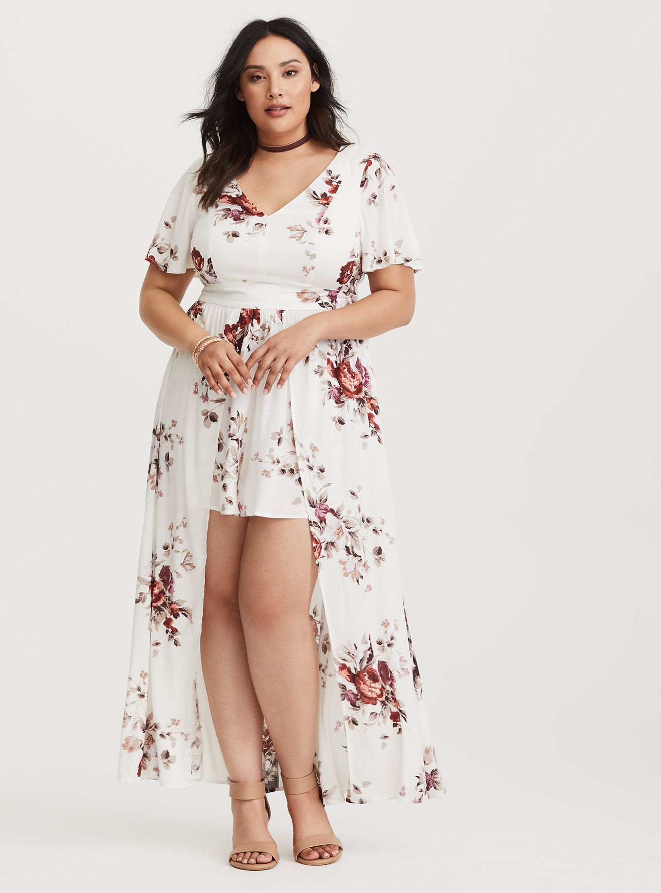 6bf1d24a9b0f Plus Size Ivory Floral Romper with Maxi Skirt Overlay (Short Inseam Now  Available)