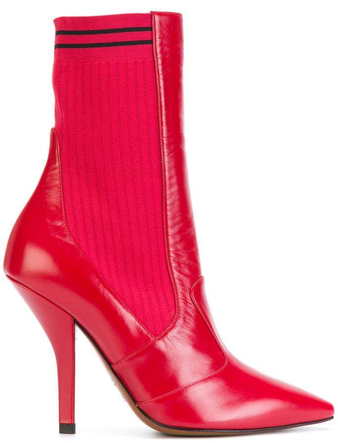 verkoop goede pasvorm de nieuwste Fendi sock heeled ankle boots | Red boots in 2019