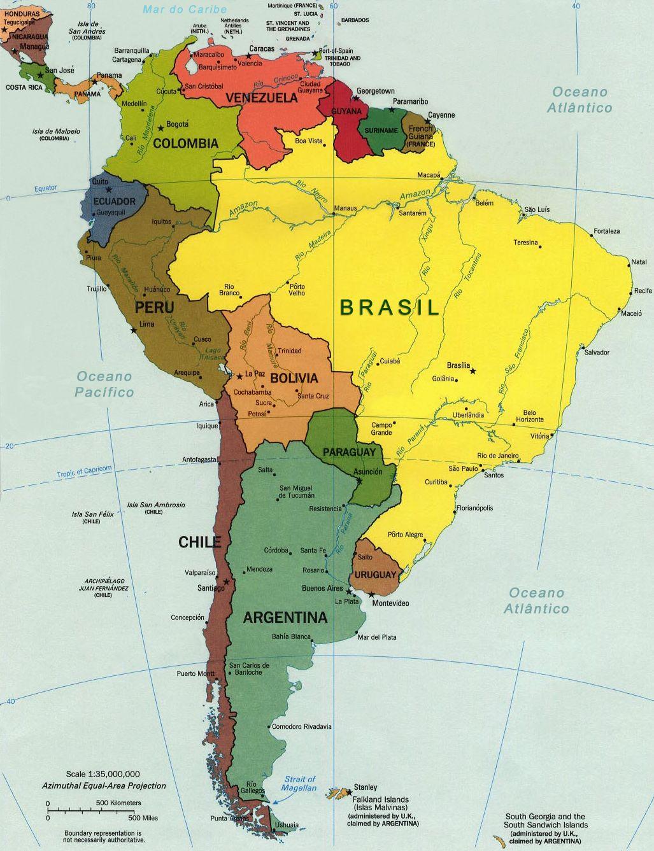 Mapa Amrica do Sul   South Amrica  Amrica do Sul