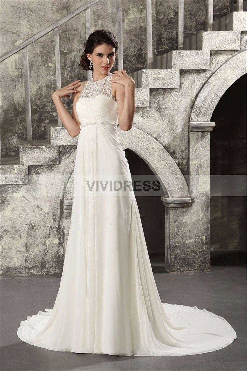 Exquisite chapel train aline halter sleeveless none lace lace