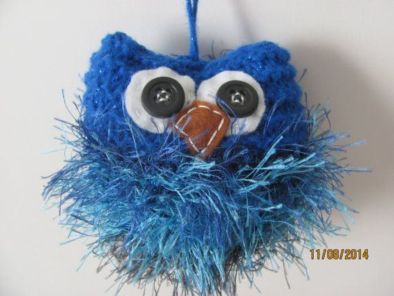 Blue Fuzzy Owl Plush Hand Knit Wedding Party Favors Christmas