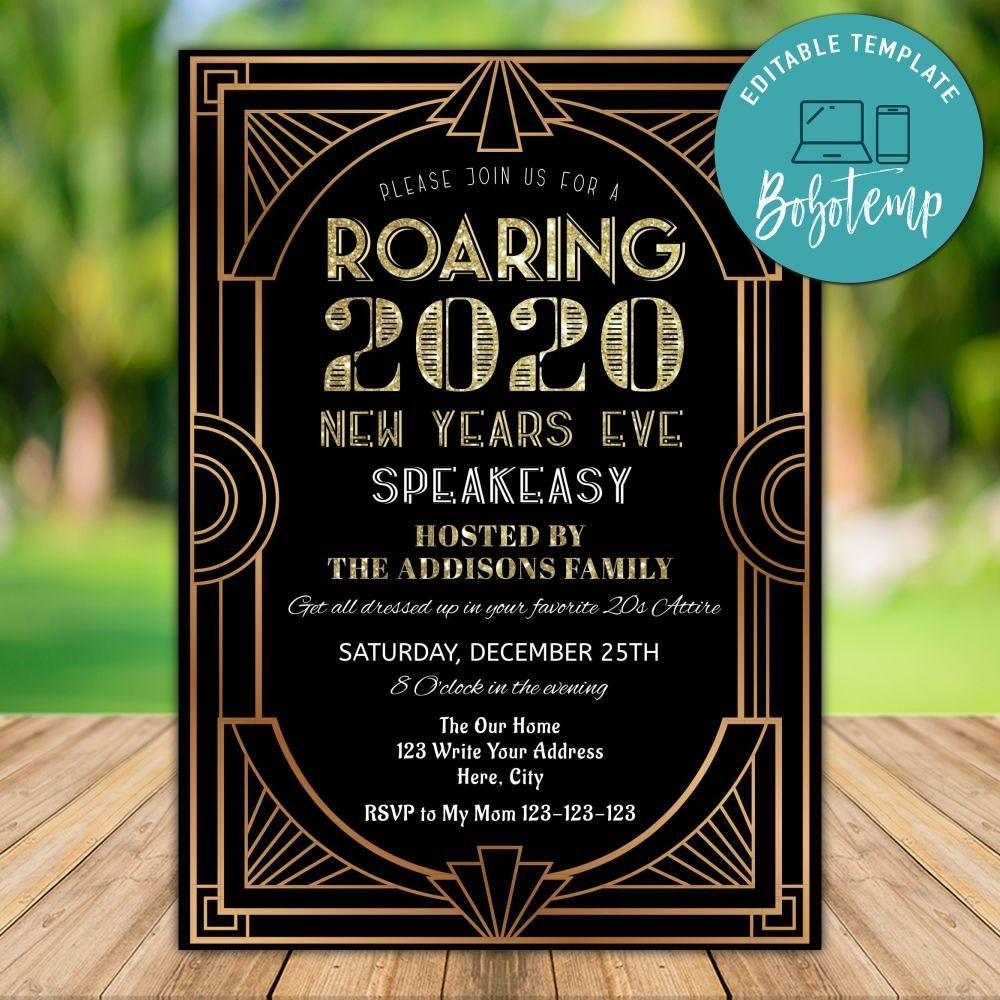 Printable Roaring 20s New Years Event Party Invitation DIY