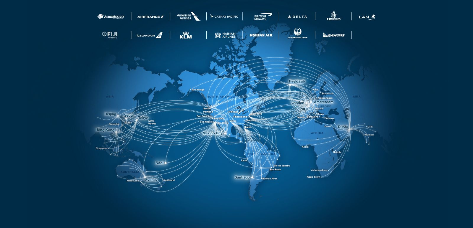 Alaska and Virgin partners route map: Aeromexico, airfrance ...