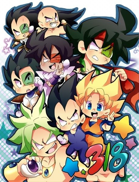 Dragon Ball Z Saiyan Chibis! Turles is cracking me up with that expression. Lol