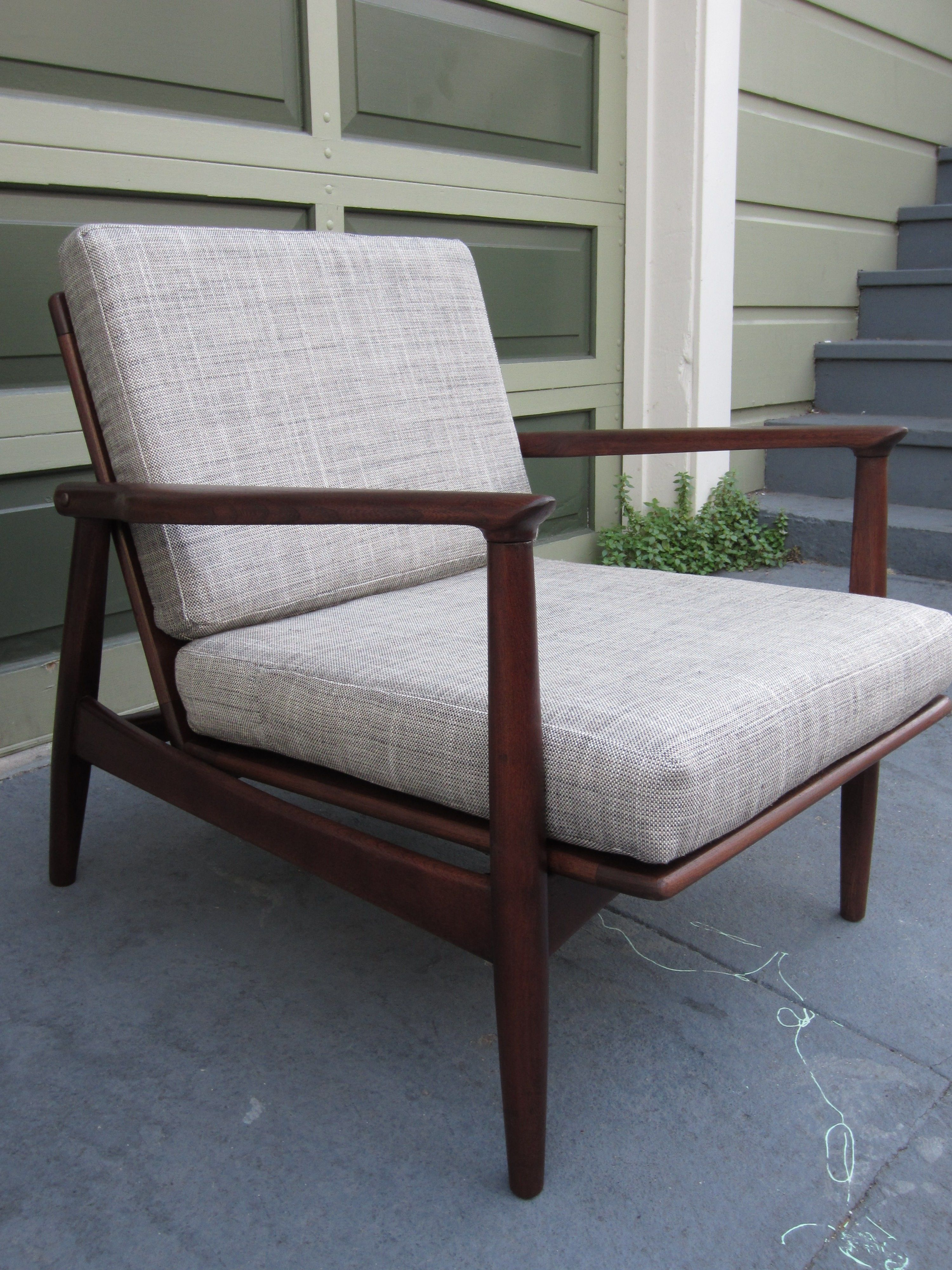 2 X Danish Chair...recovering In Cream Seat And Print Back  Cushion...9 24 12 012