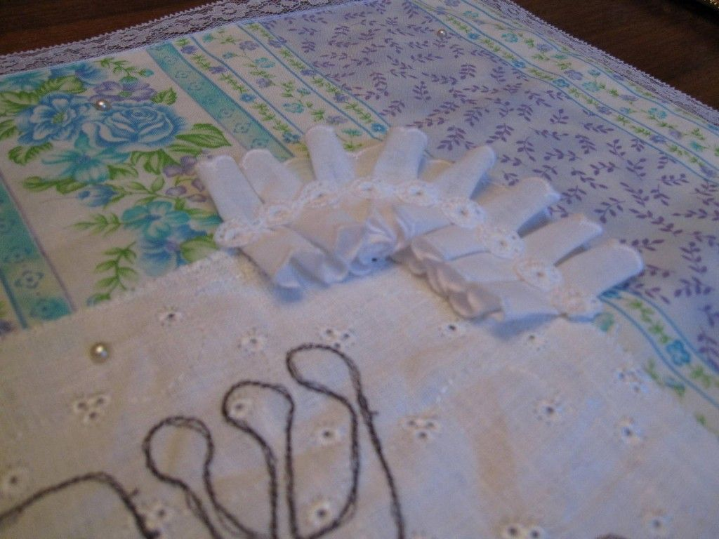 Shabby Chic Eyelet Challah Cover- Lace Trim