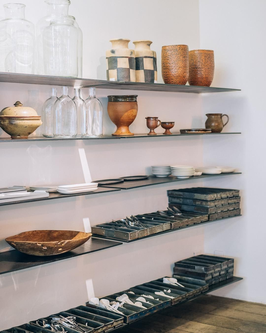 Merci's first floor   Mix and match of materials #craftmanship #vases #ceramics #glassware #stoneware