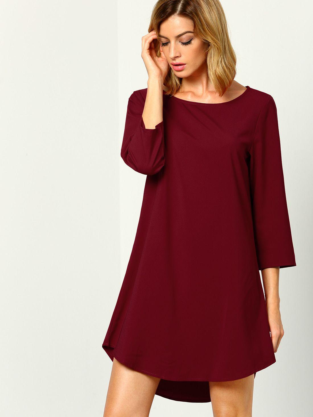 Wine Red Burgandy Elbow Length Sleeve High Low Dress Makemechic Com Long Sleeve Casual Dress Elbow Length Sleeve Dress Long Sleeve Bridesmaid Dress [ 1465 x 1100 Pixel ]
