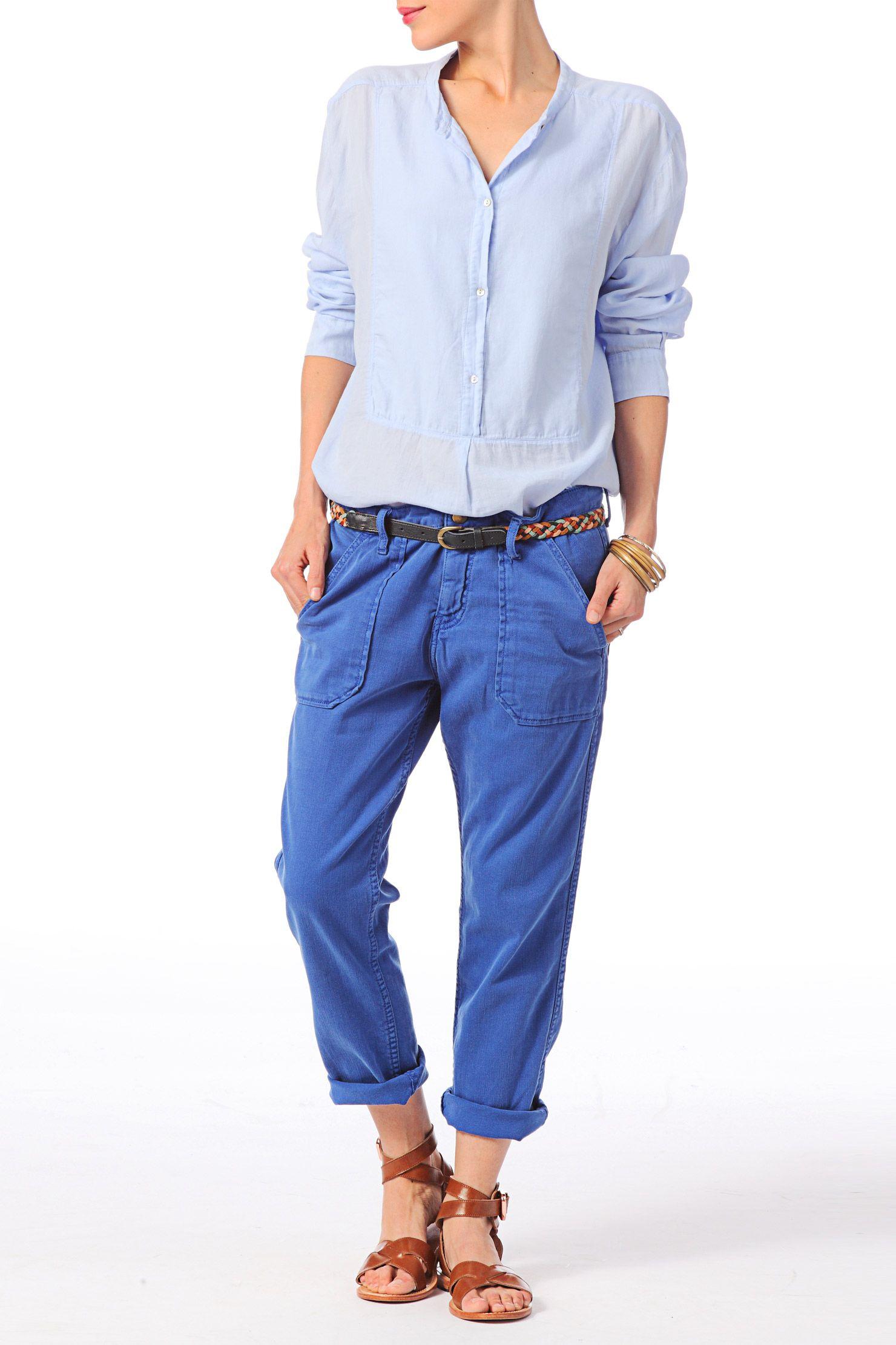 Pantalon 7/8 regular fit Sally Bleu / Marine Ba&sh sur MonShowroom.com