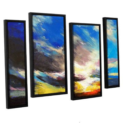"Latitude Run Cloudburst' by Michael Creese 4 Piece Framed Painting Print on Canvas Set Size: 24"" H x 36"" W x 2"" D"