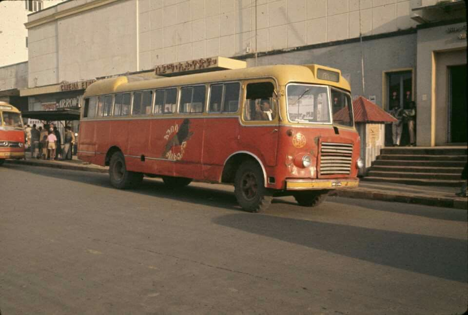 Addis Ababa's Anbessa bus service in front of Cinema