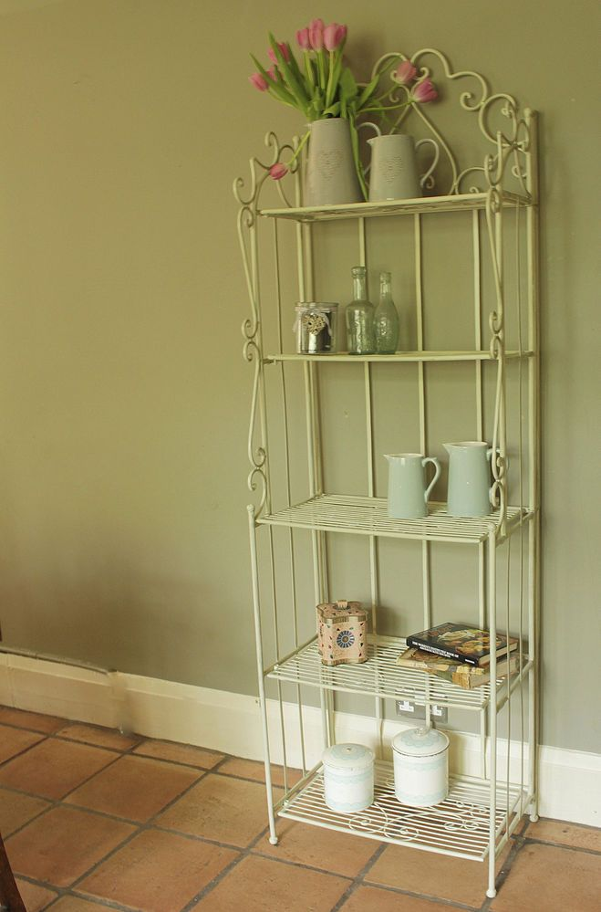 Metal Cream Shelf Unit Shabby Vintage Chic Bathroom Shelves Storage Kitchen Bathroom Storage Shelves Metal Shelves Chic Bathrooms