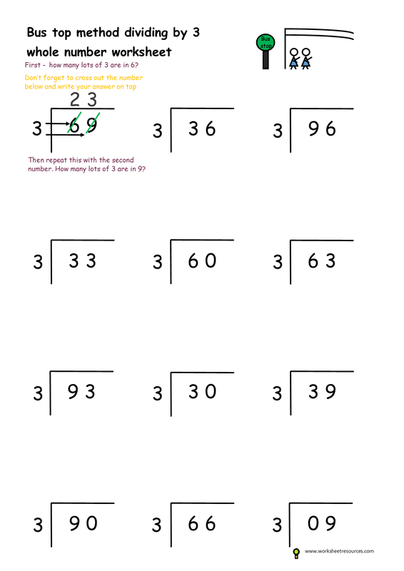 Free Printable Worksheet Bus Stop Method Divide By 3 Homework Year 2 And 3 Math Maths Worksheets Ks2 Free Printable Math Worksheets Free Printable Worksheets