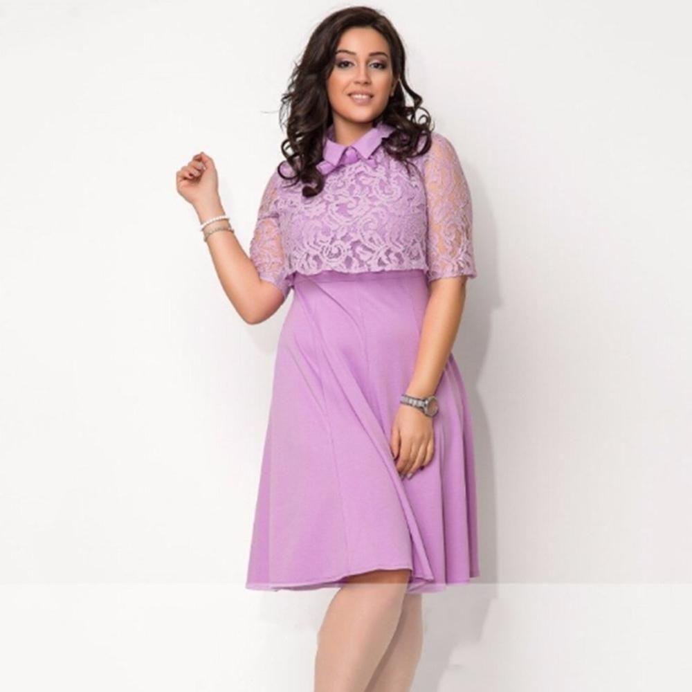 Plus size women clothing Lace dress Turn-down Collar   My Sweet ...