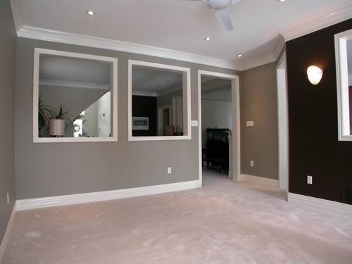 Gray Walls With Brown Accent Wall Living Room Love These