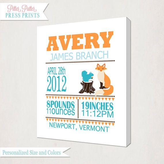 Personalized Birth Announcment Fox Canvas Print // Boy's Fox Birth Announcement Art Canvas // Kids Nursery Wall / Birth Information Canvas
