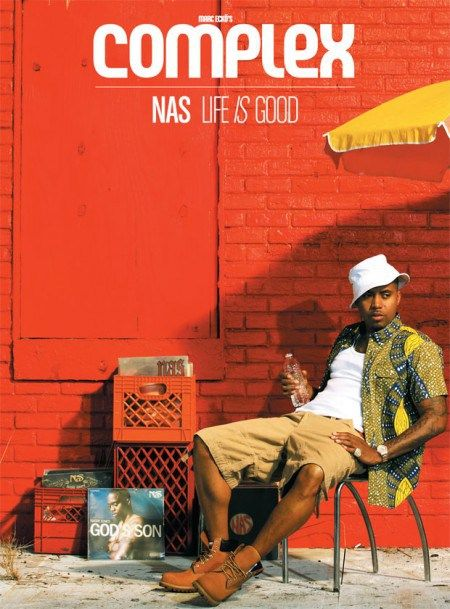 08b4bfea2d8e Nas covers Complex magazine in 2012 sporting Timbs, tan cargo shorts, a  white tee with bold printed shirt over the top and a white bucket hat.