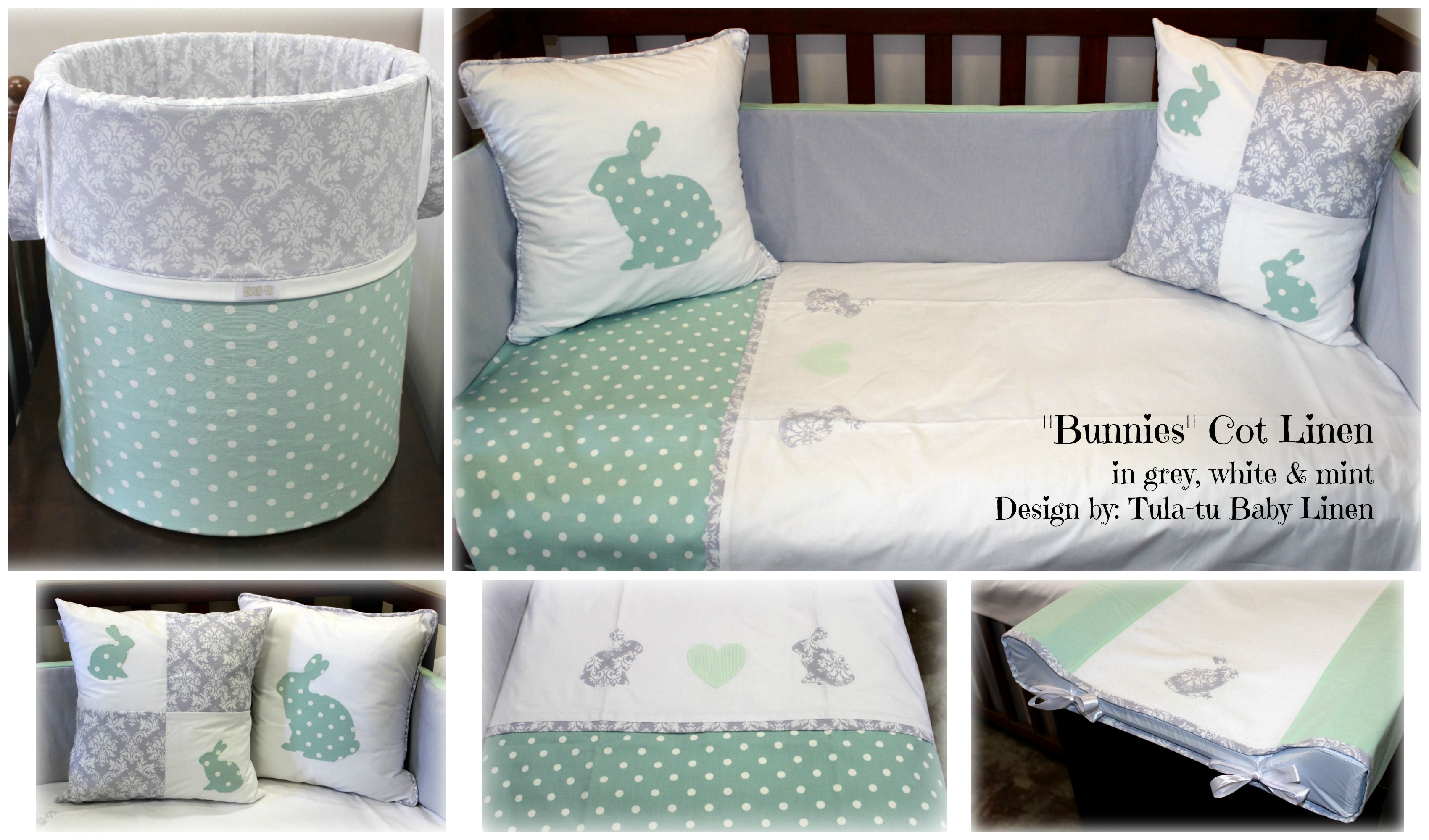 Bunny Cot Nursery Linen In White Grey Mint Designed By Tula