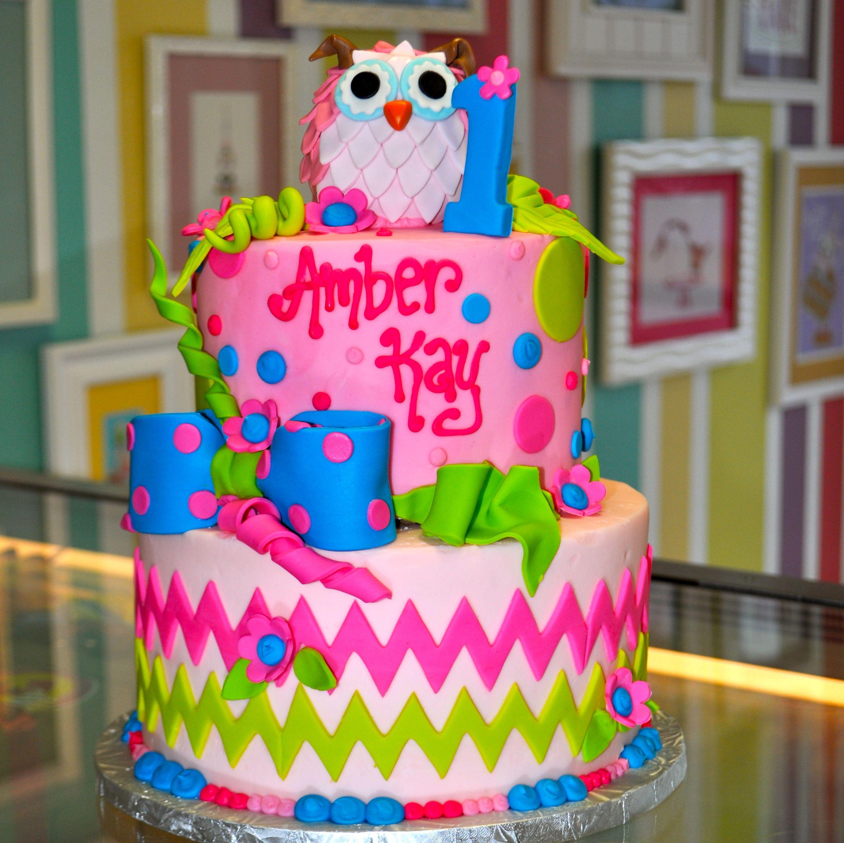 Chevron Girly Pink Green Blue Owl 1st Birthday Cake Bow