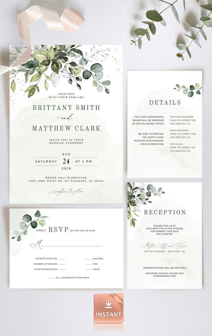REESE - Printable Eucalyptus Wedding Invitation with Watercolor Greenery, Editable BohemianTemplate,