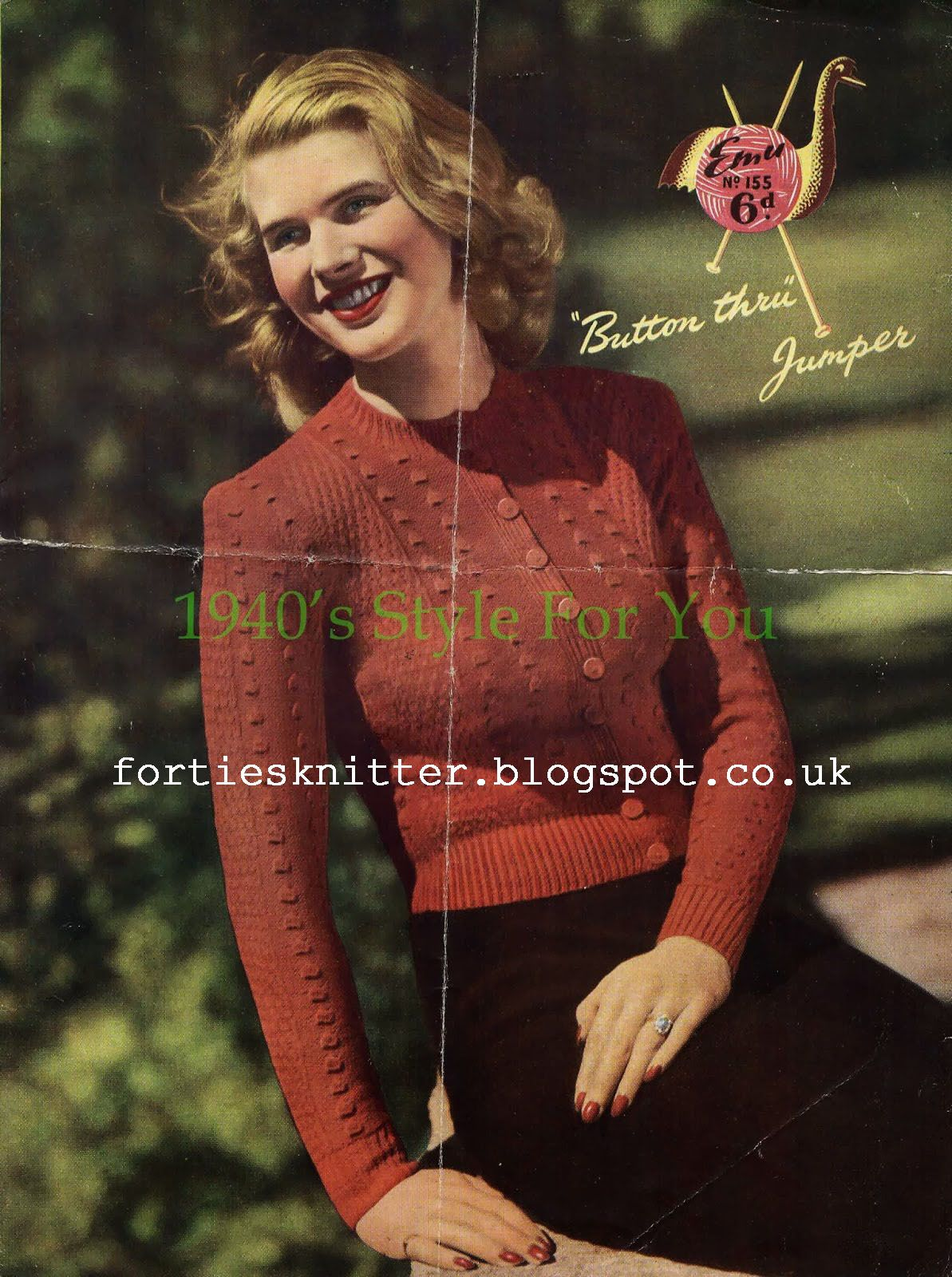 free knitting pattern 1940\'s Knitting - Lady\'s Button Through Jumper ...