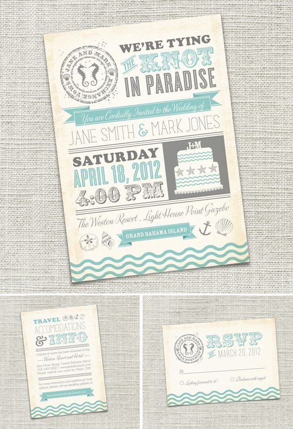 etsy Unique wedding invitation Unique weddings and Beach wedding